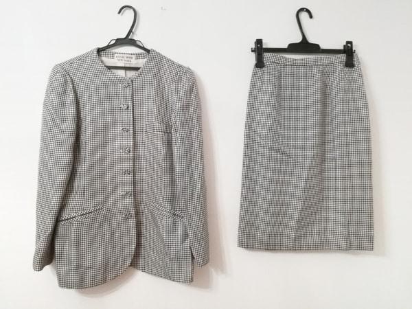 ハナエモリ スカートスーツ サイズ11 M レディース美品  黒×白 千鳥格子/NEW YORK