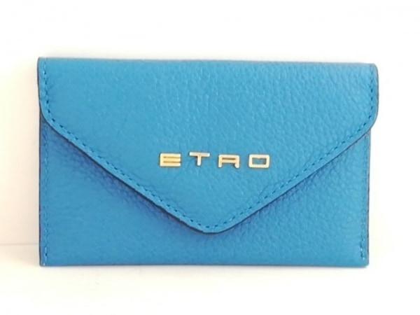 ETRO(エトロ) カードケース美品  ブルー 型押し加工 レザー