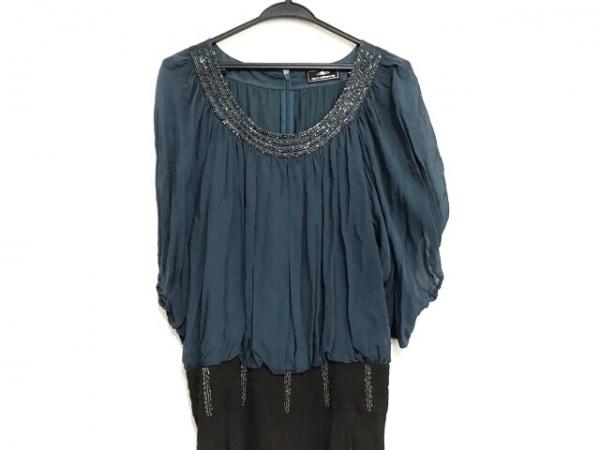 グレースコンチネンタル ドレス サイズ36 S レディース美品  ネイビー×黒