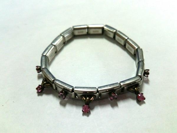 ナラカミーチェメッサジオ ブレスレット 金属素材×ラインストーン シルバー×ピンク