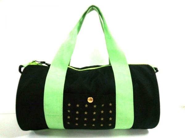 24カラッツステイゴールド ハンドバッグ美品  黒×ライトグリーン ナイロン