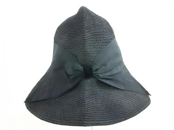 Athena(アシーナ) 帽子美品  黒 麦わら帽子/リボン 指定外繊維×コットン×紙