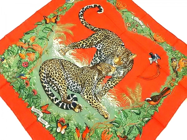 HERMES(エルメス) スカーフ美品  カレ 90 オレンジ×マルチ JUNGLE LOVE/豹