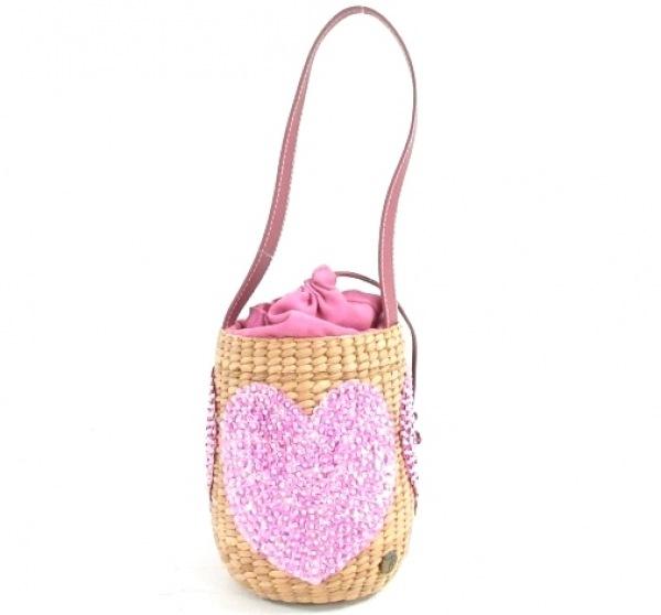 ハウスオブアンリ ハンドバッグ美品  ベージュ×ピンク×パープル かごバッグ/ハート