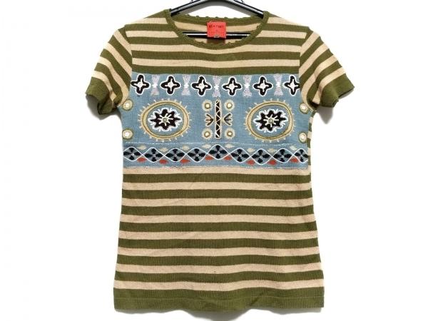 クリスチャンラクロワ 半袖セーター サイズM レディース ベージュ×カーキ×マルチ