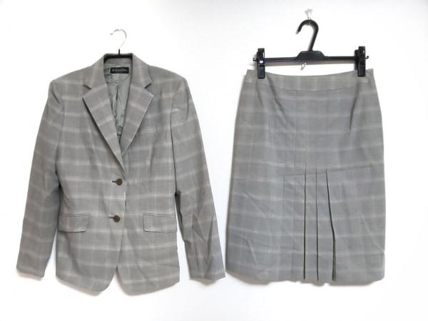 ブルックスブラザーズ スカートスーツ サイズ13 L レディース グレー×ライトグレー
