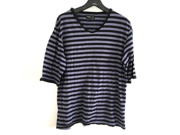 agnes b(アニエスベー) 半袖Tシャツ メンズ ブルー×黒 homme/ボーダー