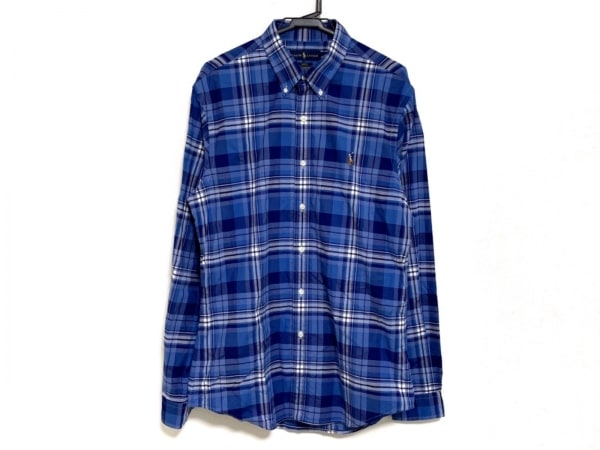 ラルフローレン 長袖シャツ サイズL メンズ美品  ブルー×ネイビー×白 チェック柄