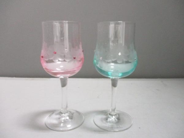 アフタヌーンティー ペアグラス新品同様  ピンク×ライトブルー×クリア ガラス