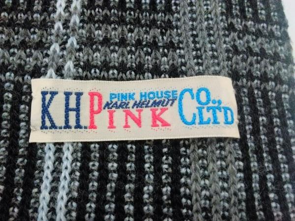PINK HOUSE(ピンクハウス) マフラー美品  黒×グレー×白 チェック柄 ウール