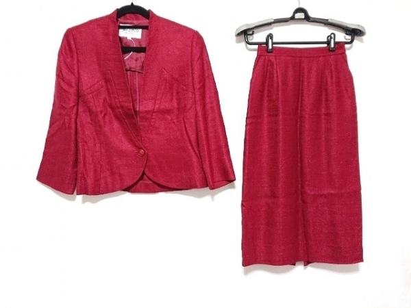 ジュンアシダ スカートスーツ サイズ7 S レディース美品  レッド 肩パッド
