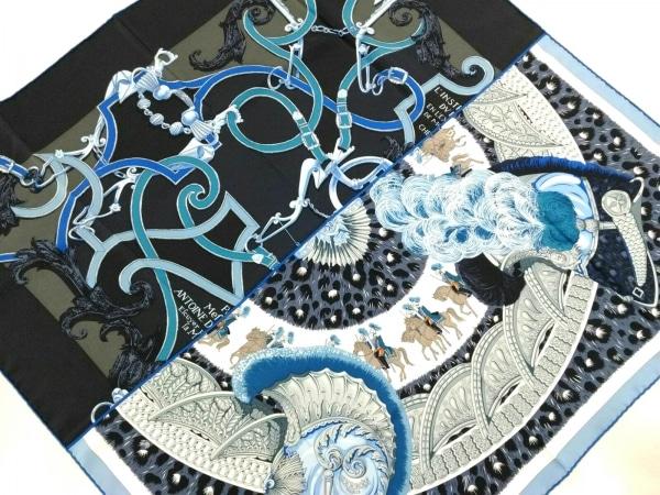HERMES(エルメス) スカーフ美品  カレ 002867S01 ブルー×黒×マルチ
