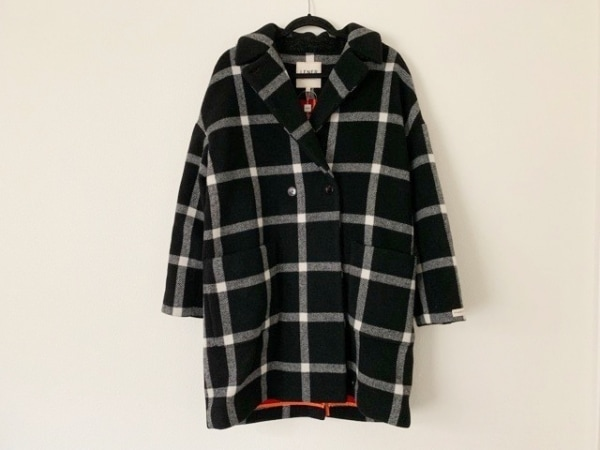 LENER(レネール) コート サイズ40 M レディース新品同様  黒×白 冬物/チェック柄
