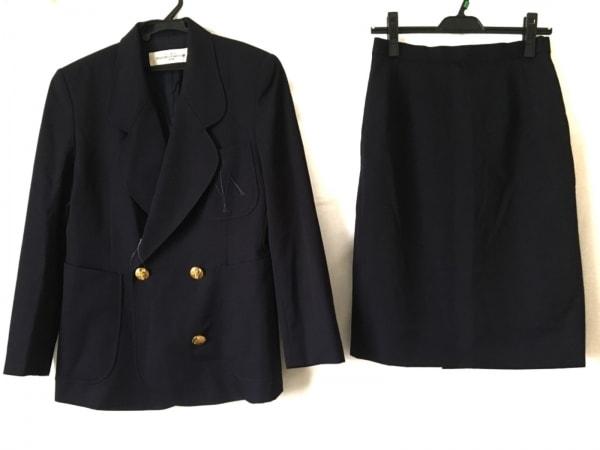 ユキサブロウワタナベ スカートスーツ サイズ9 M レディース ネイビー 肩パッド
