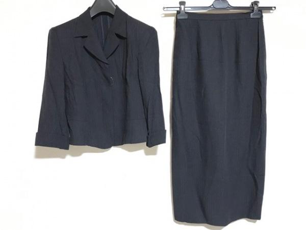 トラサルディー スカートスーツ サイズ42 44 レディース 黒×白 ストライプ