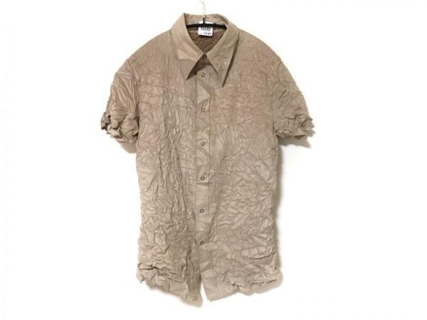 SHELLAC(シェラック) 半袖シャツ サイズ46 XL メンズ ベージュ シワ加工