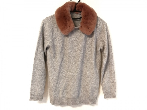 グレースコンチネンタル 長袖セーター サイズ36 S レディース グレー×ブラウン