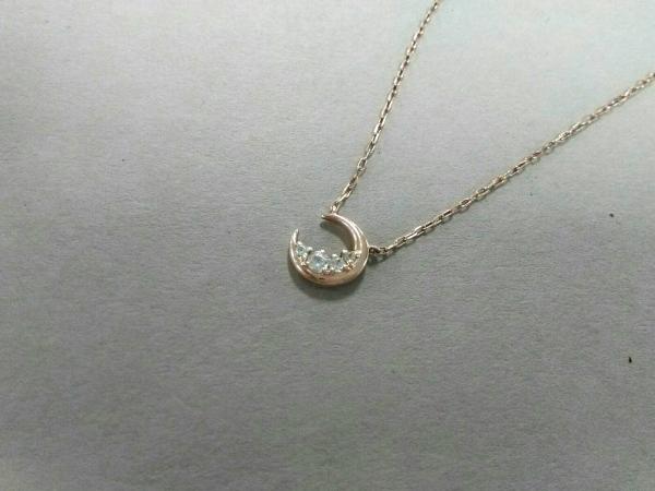 4℃(ヨンドシー) ネックレス美品  K10×ジルコニア K10PG×クリア 月