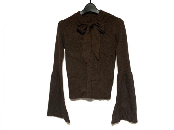 EATME(イートミー) 長袖セーター サイズF レディース新品同様  ダークブラウン リボン