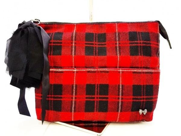 MUGUET(ミュゲ) クラッチバッグ レッド×黒×白 チェック柄/リボン コットン