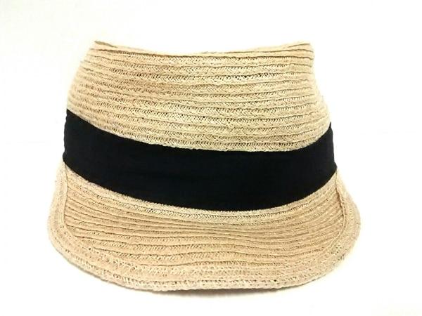 CA4LA(カシラ) 帽子 ライトブラウン×黒 ストロー