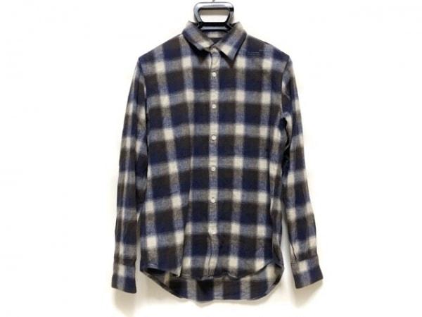 エヌハリウッド 長袖シャツ サイズ36 S メンズ ネイビー×ダークブラウン×白