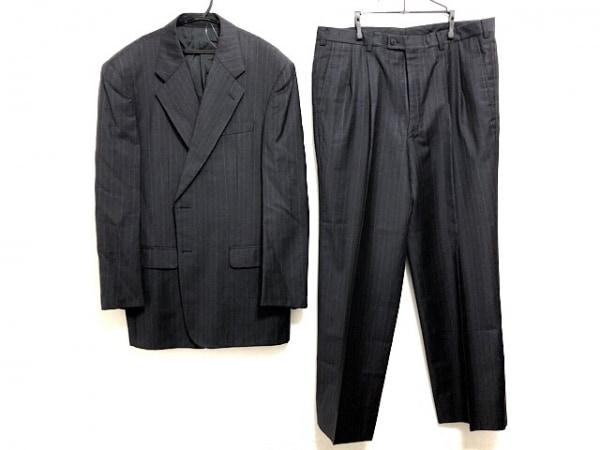 ランバンコレクション シングルスーツ メンズ ネイビー×ライトグレー×ブルー