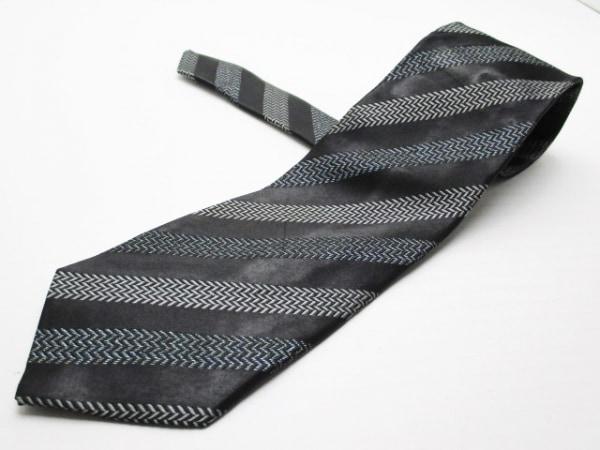 バーバリーロンドン ネクタイ メンズ 黒×グレー 斜めストライプ/ヘリンボーン/ラメ