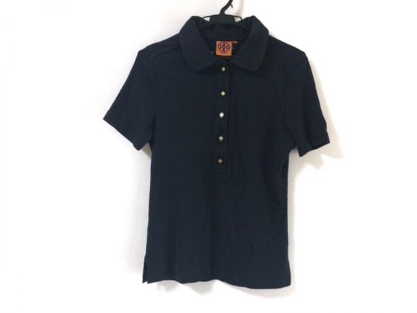 TORY BURCH(トリーバーチ) 半袖ポロシャツ サイズM レディース ネイビー