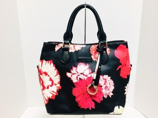 クリスチャンラクロワ ハンドバッグ美品  黒×レッド×白 花柄 合皮