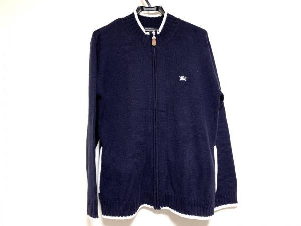 バーバリーブラックレーベル 長袖セーター メンズ パープル×白 ジップアップ