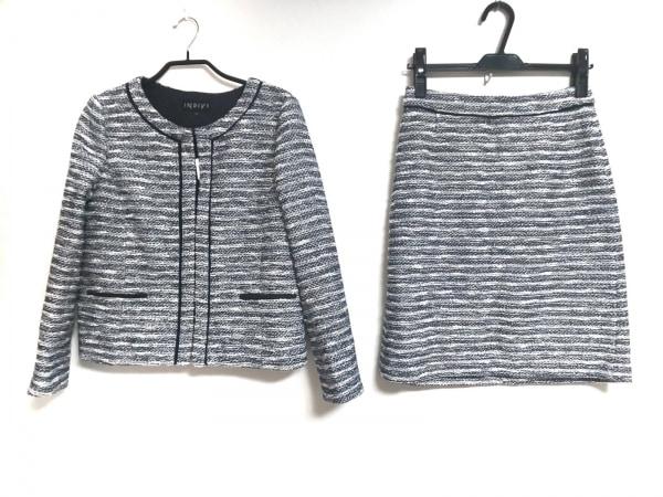 INDIVI(インディビ) スカートスーツ サイズ38 M レディース ネイビー×白 ラメ