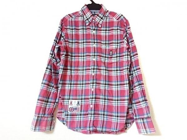 サイコバニー 長袖シャツ メンズ美品  ピンク×白×マルチ ボタンダウン/チェック柄