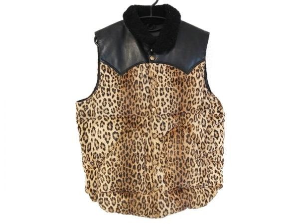 ワコマリア ダウンベスト サイズ42 L メンズ美品  黒×ブラウン×マルチ 豹柄