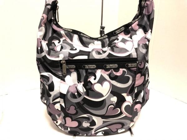 レスポートサック ショルダーバッグ美品  黒×ピンク×マルチ ハート レスポナイロン