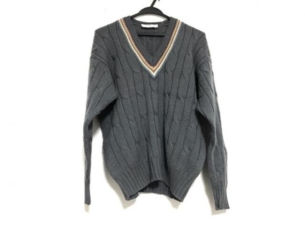 ケント&カーウェン 長袖セーター サイズL メンズ美品  グレー×ブルー×マルチ