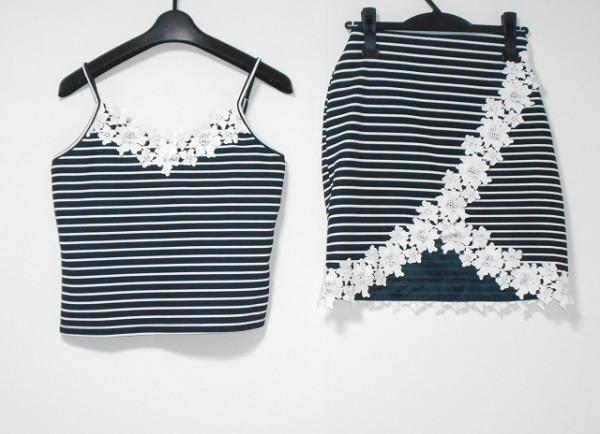 レディ スカートセットアップ サイズS レディース美品  黒×白 ボーダー/花柄/レース