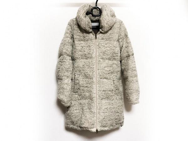 バーニーズ ダウンコート サイズ40 M レディース美品  ライトグレー×マルチ 冬物