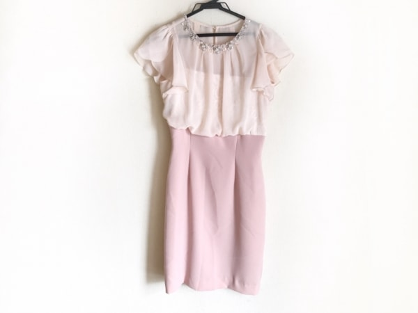 アプワイザーリュクス ドレス サイズ1 S レディース ベージュ×ピンク ビジュー