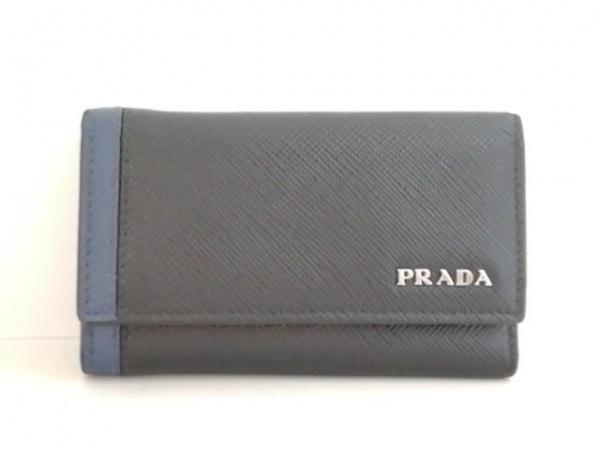 PRADA(プラダ) キーケース - 2PG222 黒×ネイビー 6連フック レザー