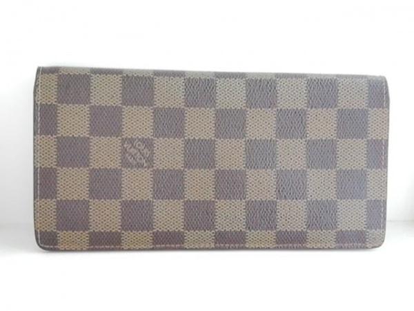 ルイヴィトン 札入れ ダミエ ポルトフォイユ・ロン N62228 エベヌ イニシャル刻印