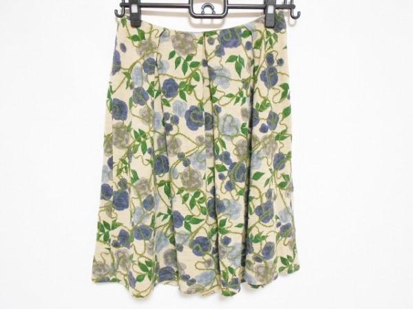 Sybilla(シビラ) スカート サイズM レディース美品  ベージュ×グリーン×マルチ 花柄