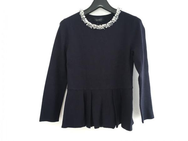 ジャスグリッティー 長袖セーター サイズ2 M レディース ネイビー×白×シルバー