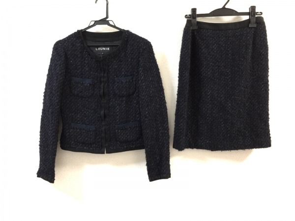 LOUNIE(ルーニィ) スカートスーツ レディース美品  黒×ネイビー
