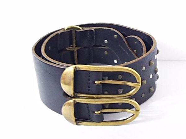 galliano(ガリアーノ) ベルト 80  黒×ゴールド×シルバー スタッズ レザー×金属素材
