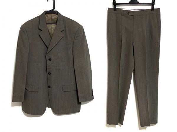 セルッティ1881 シングルスーツ サイズ48L メンズ グレー ストライプ/ネーム刺繍