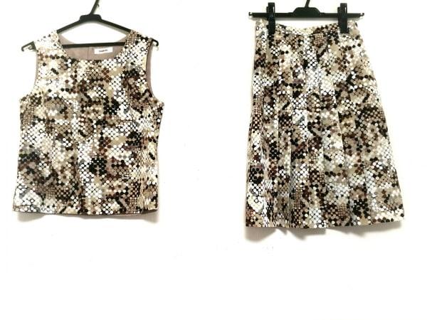 インゲボルグ スカートセットアップ サイズS レディース美品  ベージュ×マルチ