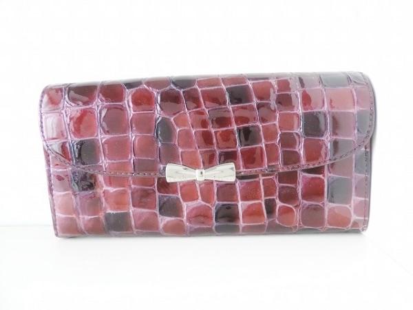 コッコフィオーレ 長財布 ボルドー×ブラウン 型押し加工/リボン エナメル(レザー)
