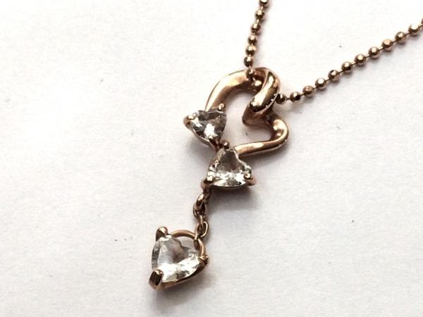 4℃(ヨンドシー) ネックレス美品  K10×ジルコニア ピンクゴールド×クリア ハート