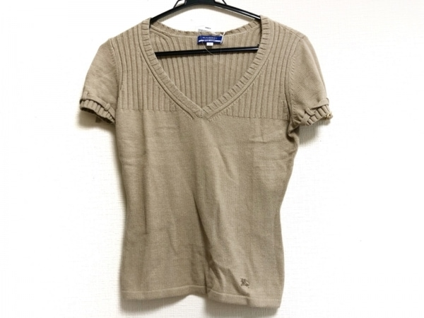 バーバリーブルーレーベル 半袖セーター サイズ38 M レディース ベージュ